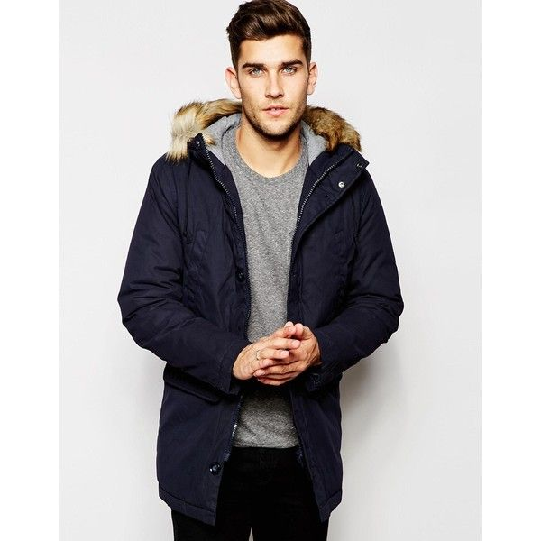United Colors of Benetton Parka with Faux Fur Hood (215 BRL) ❤ liked on Polyvore featuring men's fashion, men's clothing, men's outerwear, men's coats, blue, tall mens coats, mens blue sport coat and mens parka coats