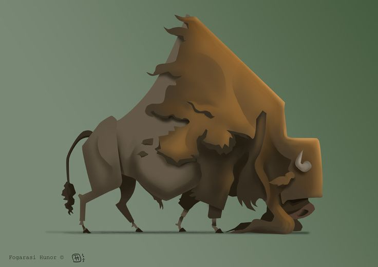 American Bison, Hunor Fogarasi on ArtStation at https://www.artstation.com/artwork/vbrEO