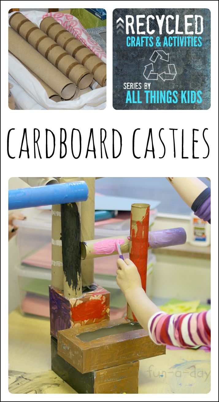 A fun way to use recycled items during a fairy tale theme! Let the children build and create their very own castles.