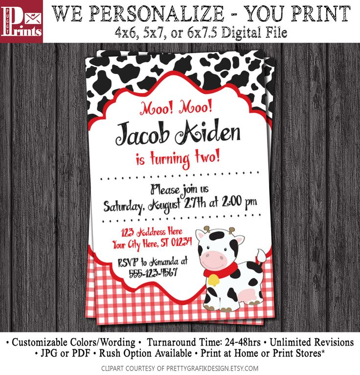22 best Cow Birthday Party images – Costco Birthday Invitations