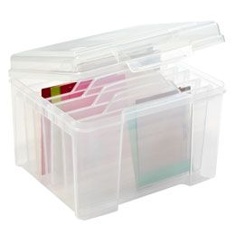 "Clear Card Keeper  6 dividers- The Container Store > 10 5/8"" x 9 3/8"" x 7 7/8"" h - $14"