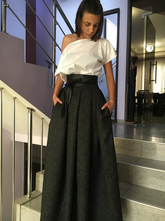 Plain Maxi Bazine Solid Black Skirt