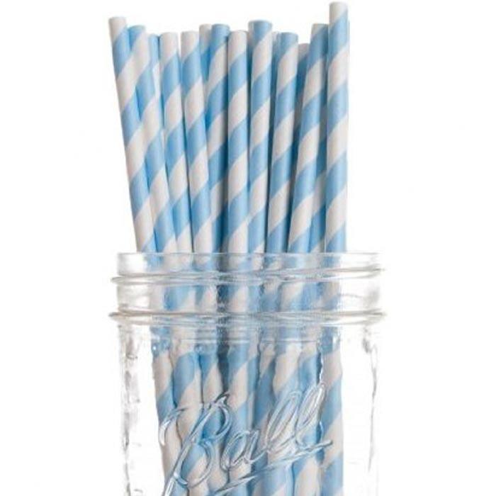 Powder Blue Striped Straws