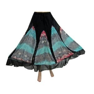 "Bohemian Skirt Black Georgette Turquoise Printed Skirts for Women 38"" (Apparel)  http://www.amazon.com/dp/B00763TS4S/?tag=http://howtogetfaster.co.uk/jenks.php?p=B00763TS4S  B00763TS4S"