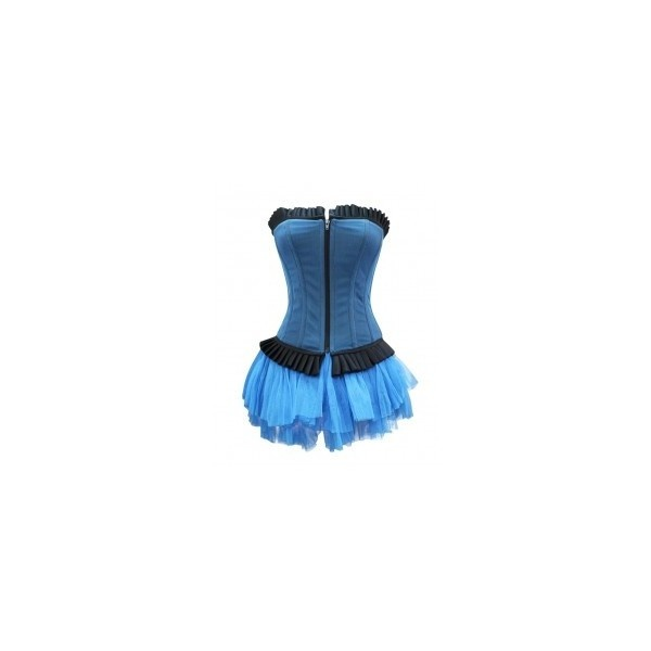 GE-156 Blue Corset with Pleated Trims and a Skirt ❤ liked on Polyvore: Ge 156 Blue, Blue Corsets