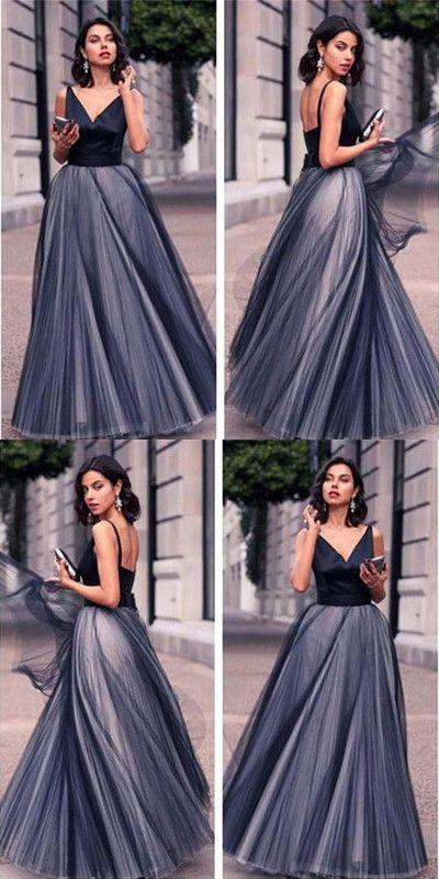 Modest Black Prom Dress,V Neck Tulle Prom Dress,Custom Made Evening Dress,17258