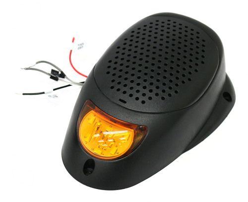 """Black 3"""""""" Water Resistant Surface Mount Satellite Speaker Amber LED Lighting 12V"""