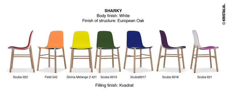 ‪#‎mondayidea‬ our proposed matching on Monday made through our website: Today we offer a rainbow of Sharky chairs Body finish: White Finish of structure: European Oak Filling finish: Kvadrat Scuba 022 - Field 542 - Divina Melange 2 421 - Scuba 0013 - Scuba0017 - Scuba 0018 - Scuba 621