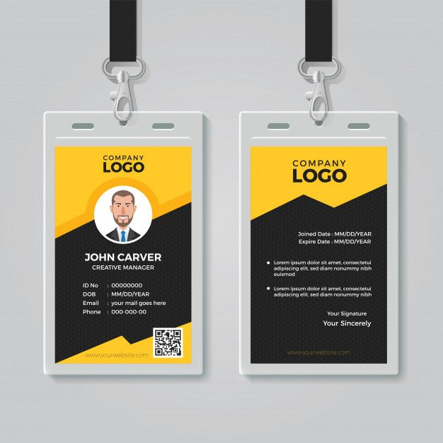 Stylish Yellow Id Card Design Template Identity Card Design Id Card Template Business Card Design Creative