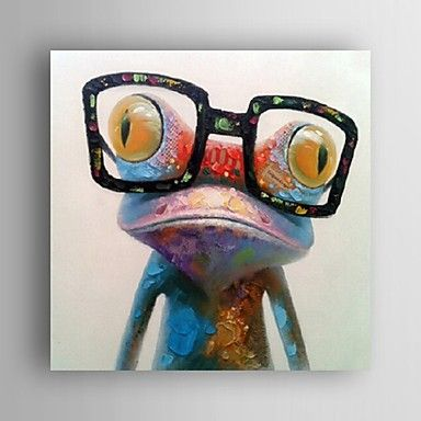Oil Painting Modern Abstract Frog Hand Painted Canvas with Strecthed Frame - USD $ 79.99