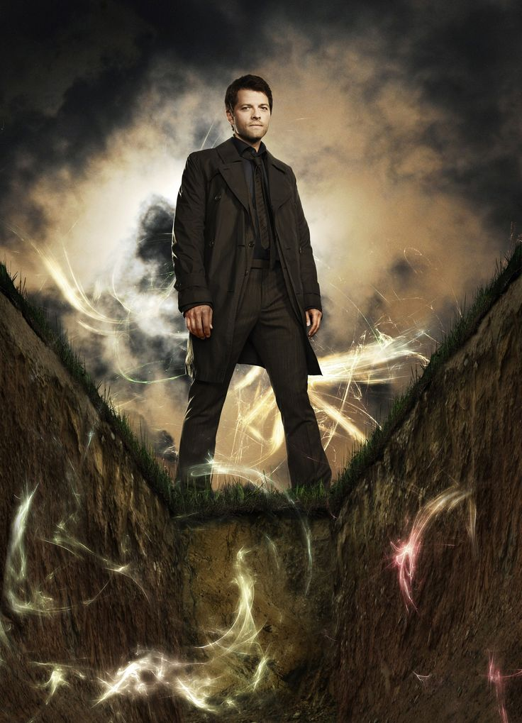 Supernatural. I haven't gotten to whatever season this is, but Cas looks amazeballs hot here.
