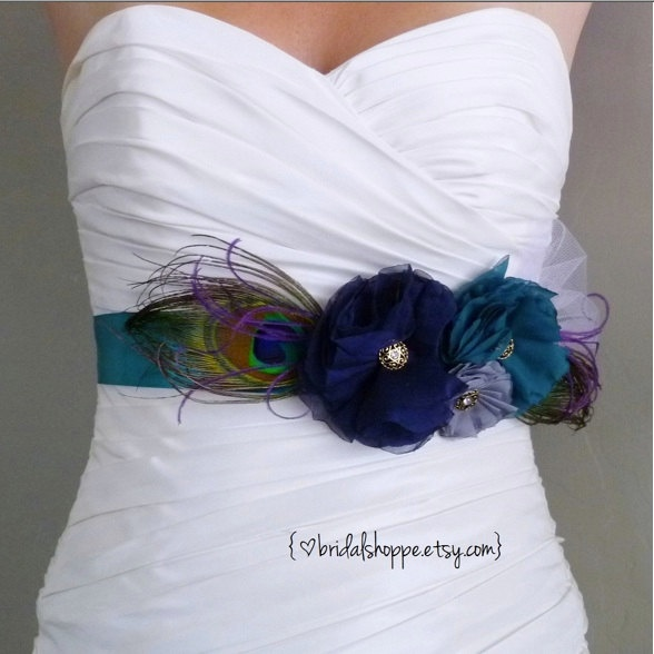 Wedding Sash Belt or Maternity Sash - LUCKY - Three Flowers Navy Blue, Teal and Grey on a Teal Sash. $89.00, via Etsy.