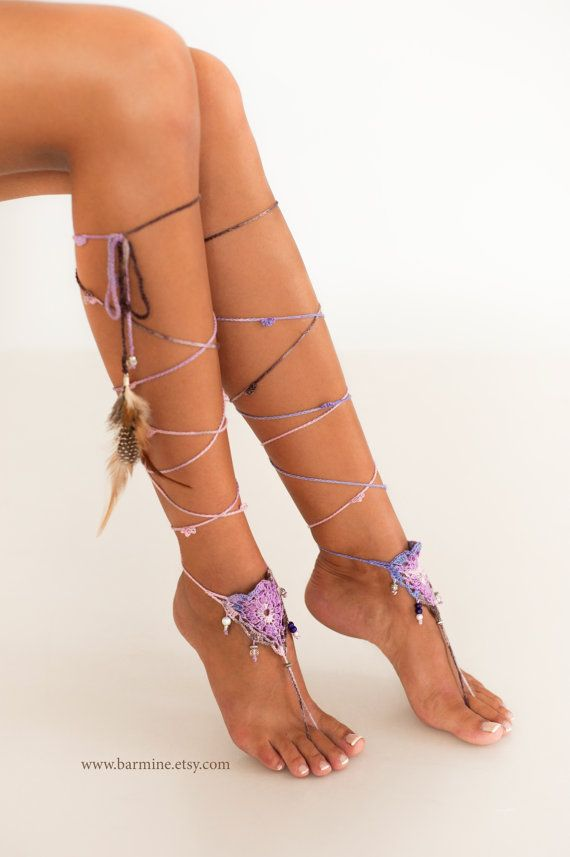 These adorable barefoot sandals can be worn barefoot or with shoes. Hand crocheted and beaded with high quality czech beading, gemstones, feather and