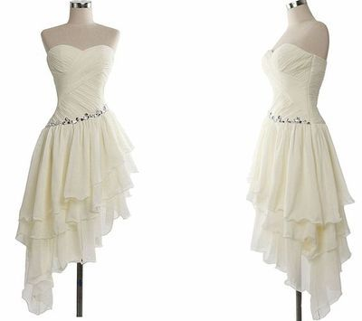2016 Charming Homecoming Dress,White Beaded Prom Dress,Sweetheart Chiffon Ruffles Dress For Summer Party