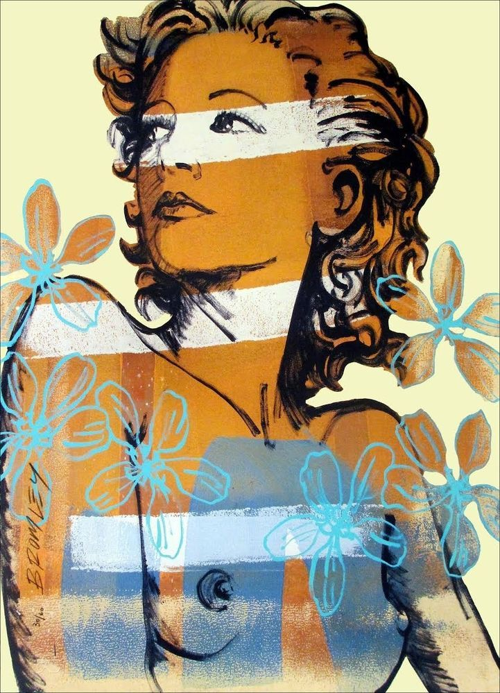 "DAVID BROMLEY Nude ""Hillary"" Signed, Limited Edition (60 only) Screenprint, 70cm x 50cm"