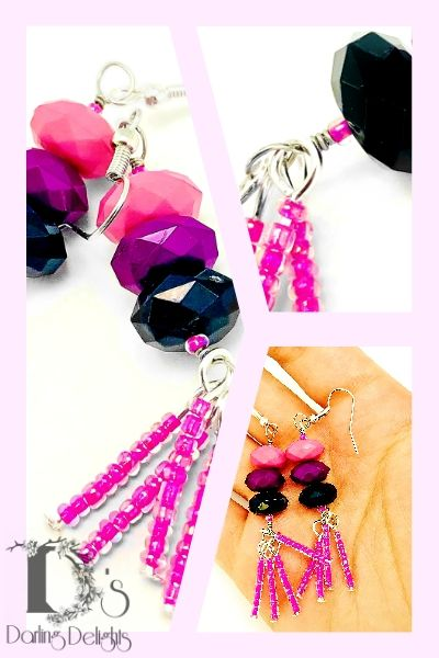 Who Doesn T Love The Color Pink And Black Together These Beautiful Ombre Beaded Tel Earrings Give A Stunning Effect Will Elevate