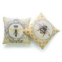 2Pcs Throw Pillow Case Lot Modern Vintage French Queen Bee Yellow Cushion Cover