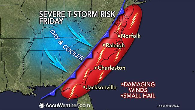 Severe Storms to Hit Friday From NYC to Jacksonville, Fla. This has been one crazy freaking winter!!!