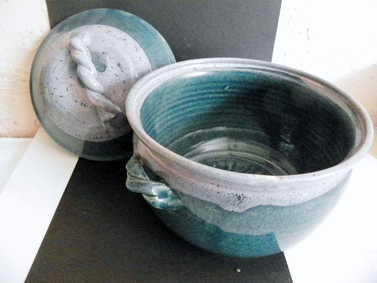 John Garrou N Carolina Pottery Covered Soup Tureen Purple/Blue Signed #NorthCarolinaPottery #Rustic