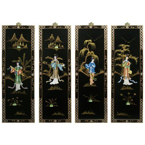 Oriental Wall Plaque Soap Stone Maidens 4 Panels