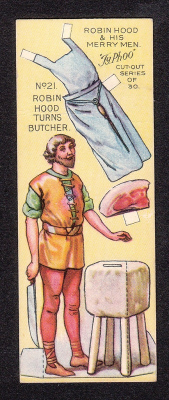 Robin Hood Scarce 1928 Typhoo Tea Paper Doll Card #21 Robin Hood The Butcher | eBay
