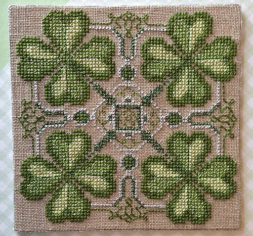 Faith, Hope, Love, and Luck - free cross stitch project from Kreinik
