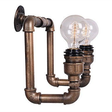 ES venta caliente americano pasillo de la vendimia de tubería de agua industrial lámpara de pared restaurante bar bombilla de Edison retro de