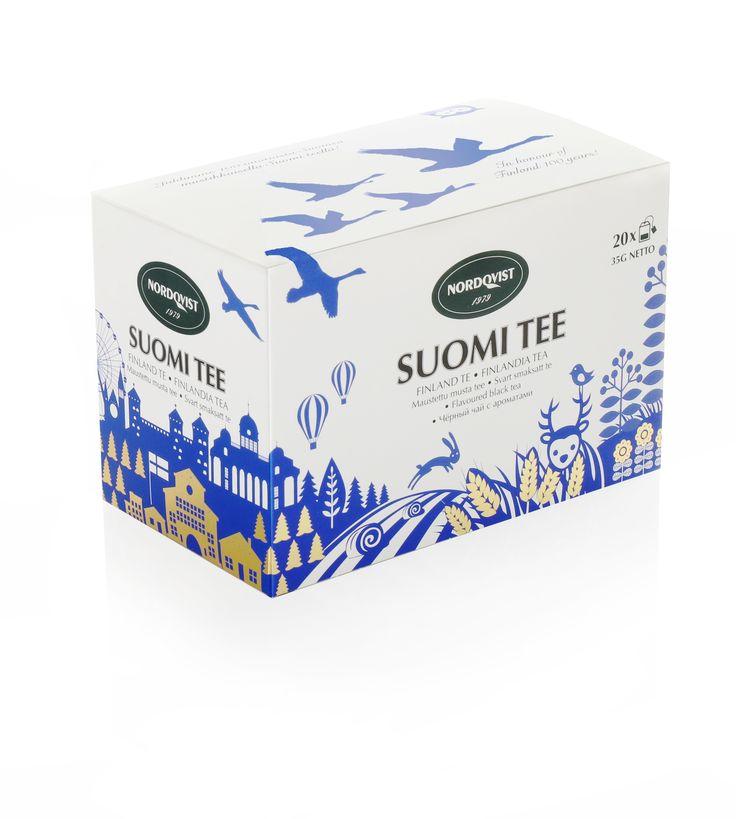 NEW Nordqvist Finlandia tea box. Black tea with blueberry flavour. Finland 100