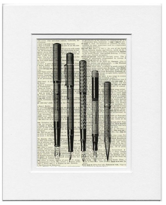writing pens  vintage artwork printed on page from old by FauxKiss, $10.00