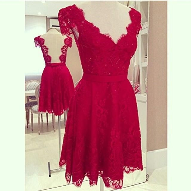 V-Neck Cap Sleeves Backless Short Lace Party Dress - Meet Yours Fashion - 3