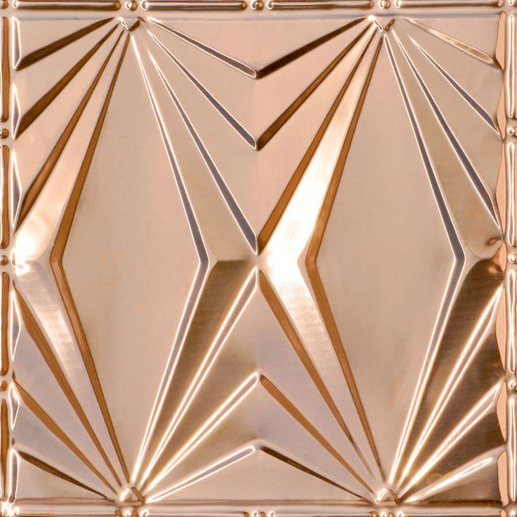 Decorative Ceiling Tiles, Inc. Store - Art Deco Triangles - Copper Ceiling Tile -