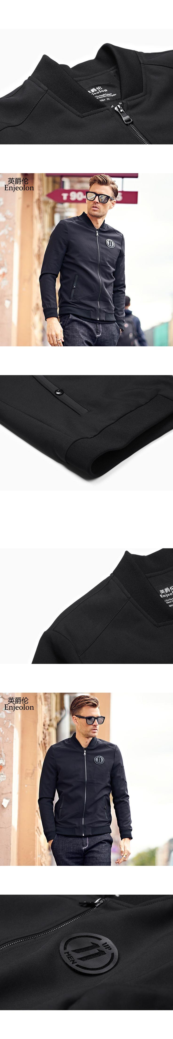 Enjeolon brand 2017 Bomber casual windbreaker jackets men, black solid Mens tactical coats, stand collar Jacket clothes JK0454