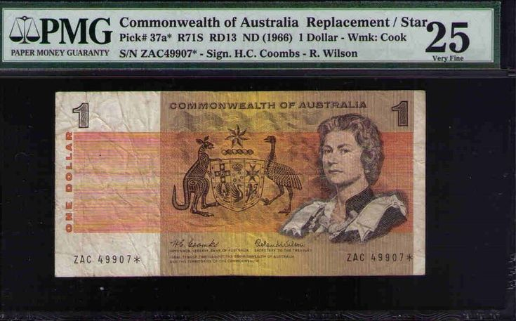 Star Note R71S 1966 COOMBS / R WILSON $1 Comwealth of Australia PMG 25 VERY FINE