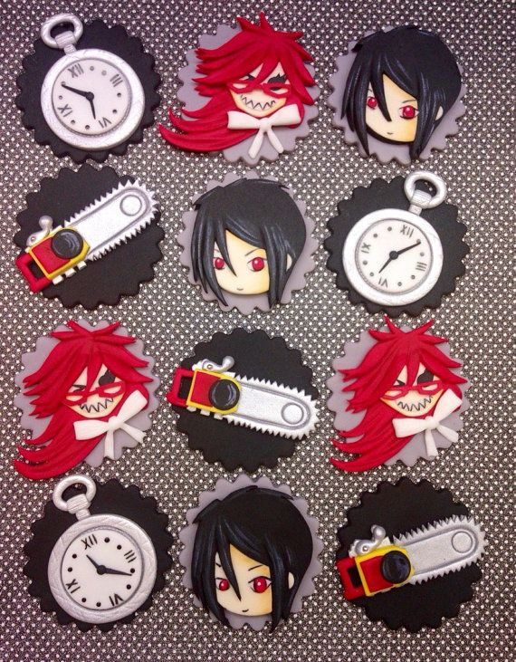 Fondant Black Butler Inspired Cupcake Toppers by CherryBayCakes