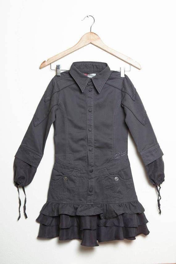 Kid Vintage Girl Diesel casual gray cotton silk long sleeve