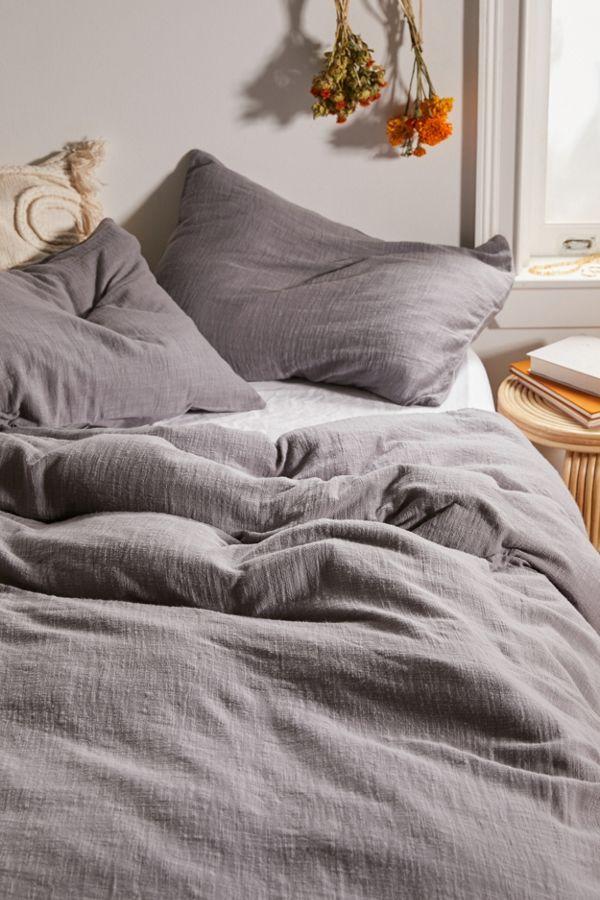 Washed Cotton Slub Duvet Cover Washed Linen Duvet Cover Duvet Bedding Sets Gray Duvet Cover