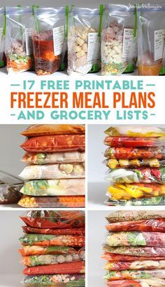 17 Free Printable Freezer Meal Plans and Grocery Lists.  I've made all of these meals and they're delicious.  The free grocery lists are awesome!!