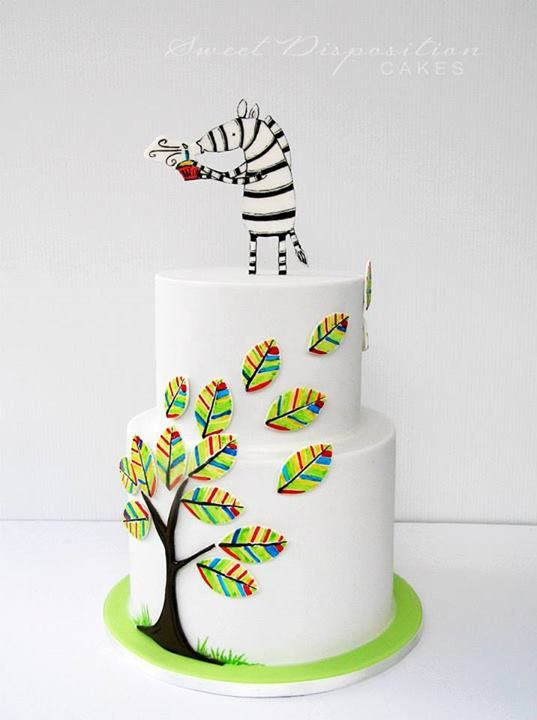 "Made by Sweet Disposition Cakes - #zebra   ""This cake was for a special request from my son's Year 6 class for their teacher Miss T who loves zebras.  Miss T is relatively new to our school and is from South Africa so colours from the South African flag were incorporated into the tree... maybe a bit brighter  The Zebra design is slightly modified from an original picture by Alex Latimer an illustrator/writer from Cape Town. http://www.alexlatimer.co.za/"""