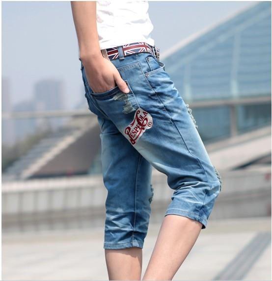 Мужские джинсовые длинные шорты
