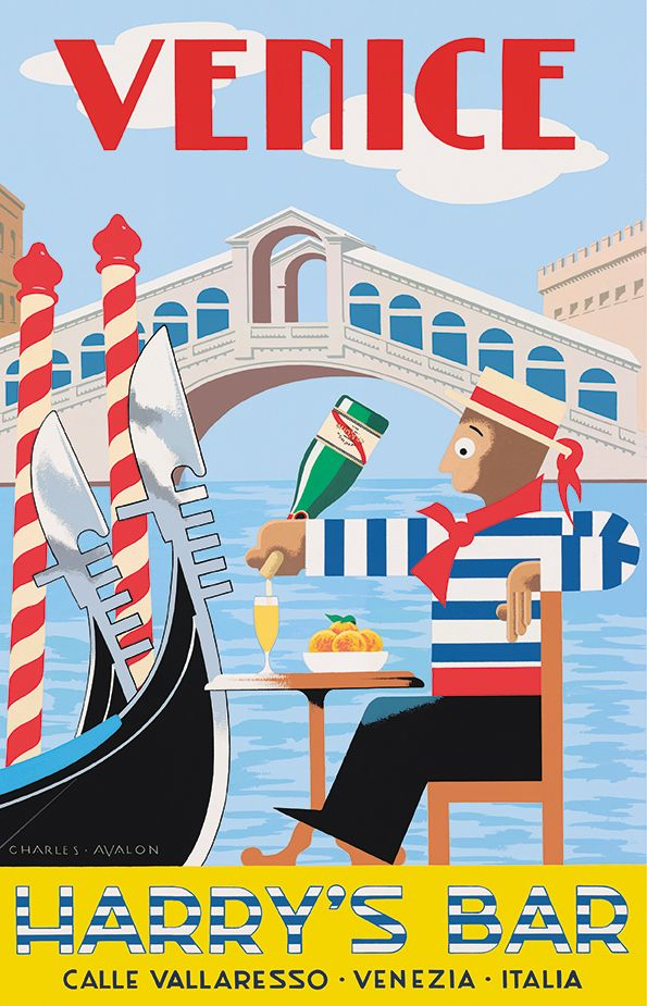 'Harry's Bar ~ Venice' by Charles Avalon ~ Vintage travel posters  www.muranopassion.com