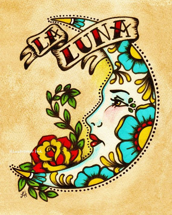 Mexican Folk Art Prints soleil lune Loteria El par illustratedink