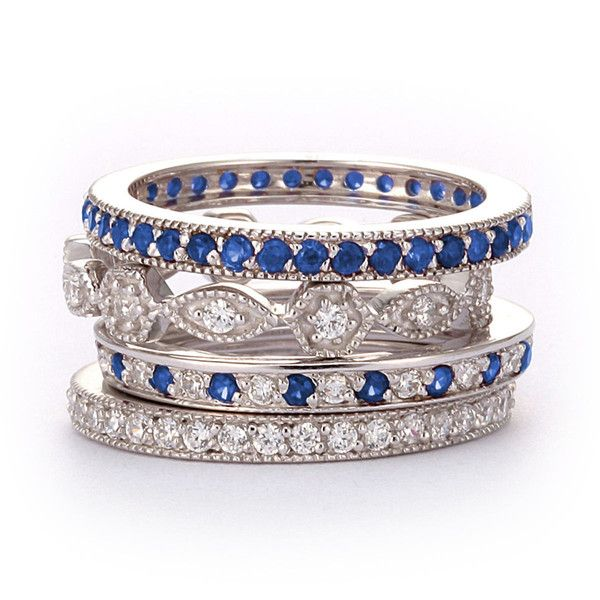 Susanb Designs Simulated Diamond And Sapphire Stackable