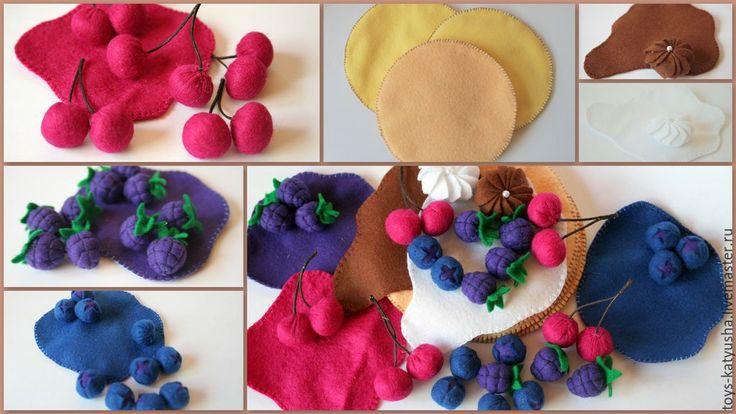 """Купить Игровой фетровый набор """"Сладкий завтрак с лесными ягодами"""" - разноцветный, игрушка ручной работы"""
