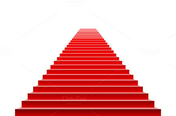 Stairs covered vector red carpet.  by Rommeo79 on @creativemarket