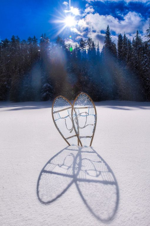 The sun creates a long shadow from our snowshoes while winter camping #Discoverontario