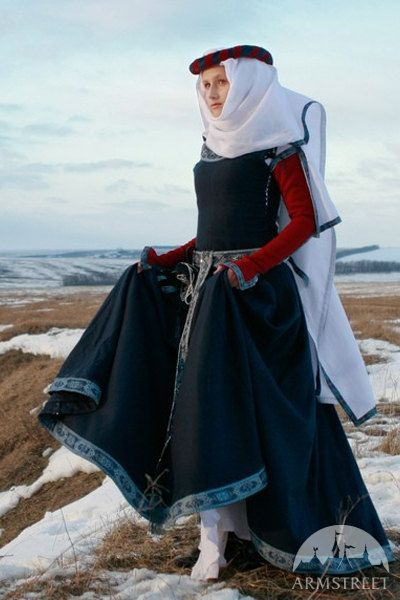 "Womans Medieval Dress ""Red Sleeves""; historical dress; sca dress; wool dress"