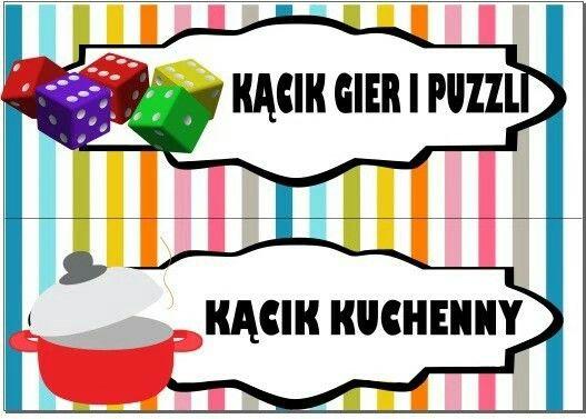 Kącik gier i puzzli i kącik kuchenny