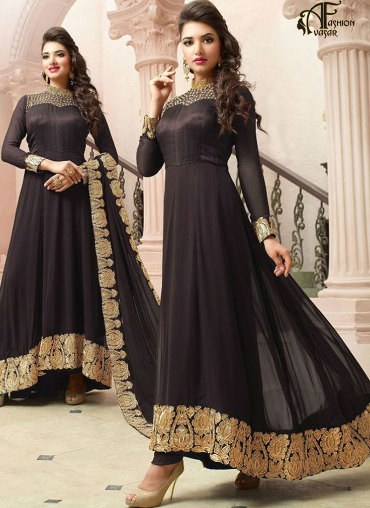 Anarkali Churidar Georgette Brown Salwar Kameez