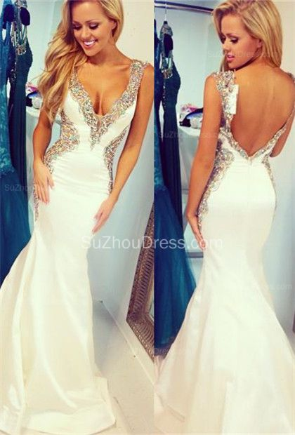 White 2015 Straps Mermaid Sequins Crystal Sweep Train Taffeta Evening Gowns,2015 White Prom Dress Backless Long Mermaid Straps Beaded Bodice Sequins Prom Dresses