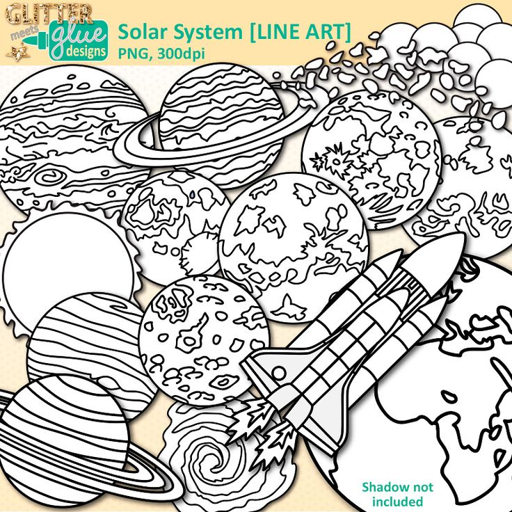Download Solar System clipart set for personal and commercial use. Illustrations of planets, Earth, asteroids, moon, space shuttle, Milky Way, exoplanets. High-Quality, 300dpi, Transparent Backgrounds.